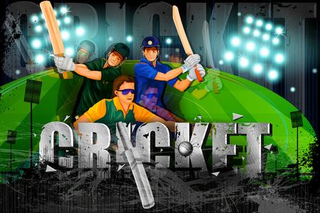 illustrazione del giocatore in astratto Campionato Cricket sfondo