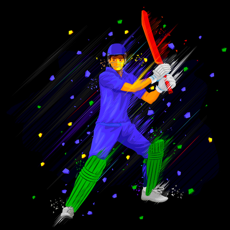 batsman: illustration of Cricket batsman