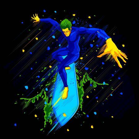 granola: ilustración de la persona que practica surf monta una onda grande Vectores