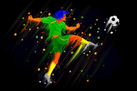 boys soccer: illustration of soccer player kicking ball