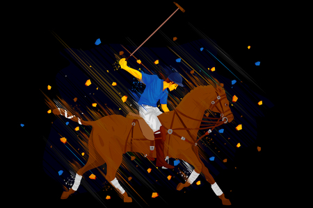 polo player: illustration of polo horse player