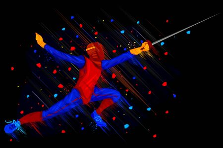 fencing: easy to edit vector illustration of fencer attacking with Foil
