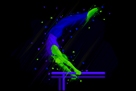 parallel: easy to edit vector illustration of gymnast doing stunt on parallel bar Illustration