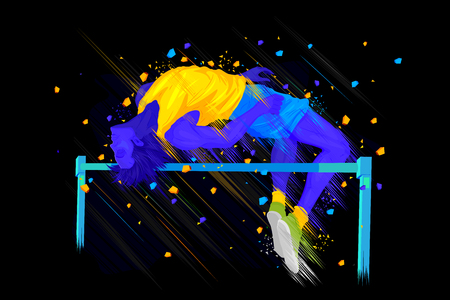 easy to edit vector illustration of man performing high jump