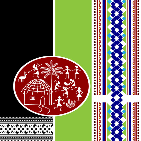 bright paintings: easy to edit vector illustration of Indian Art background