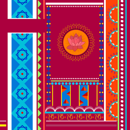 rajasthani painting: easy to edit vector illustration of Indian Art background
