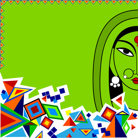 elegant woman: easy to edit vector illustration of Indian Art background