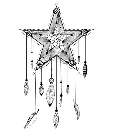 for a dream: Dream Catcher for Tribal boho style background in vector Illustration