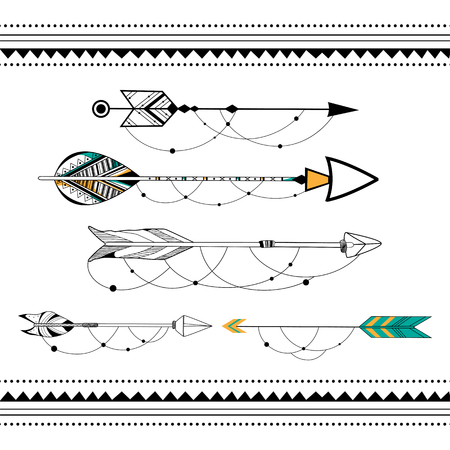 indian weapons: Arrow for Tribal boho style background in vector