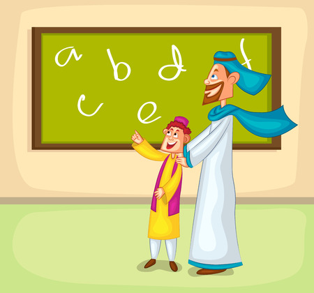 young schoolchild: Muslim boy learning from parent  in vector