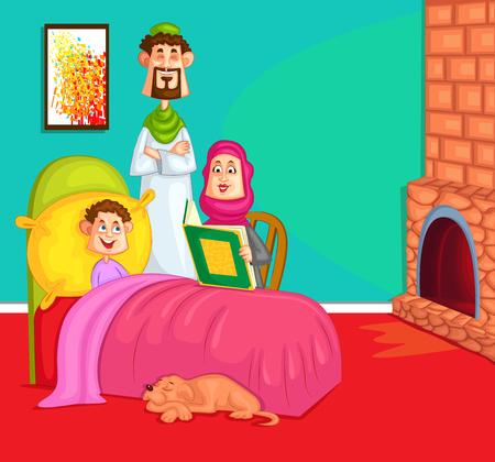 bed room: Muslim fmily in the kids bed room in vector