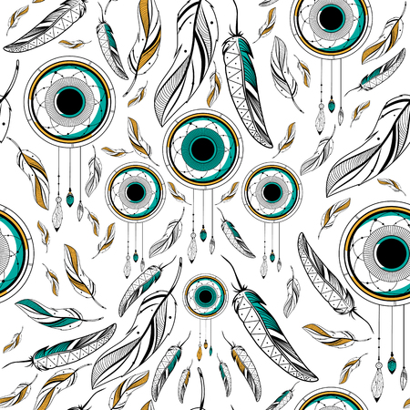 for a dream: Dream Catcher for Tribal boho style seamless pattern in vector