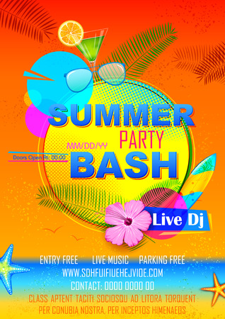 bash: illustration of Summer Party poster design Illustration