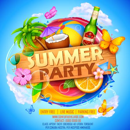 frutas tropicales: Ilustración de diseño del cartel del partido del verano