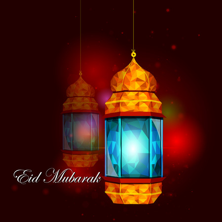 iftar: vector illustration of illuminated lamp for Eid Mubarak Blessing for Eid background