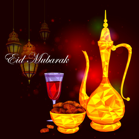 holy jug: vector illustration of bowl of sweet dates and beverage for Eid Mubarak Blessing for Eid background