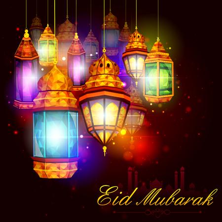 illuminated: vector illustration of illuminated lamp for Eid Mubarak Blessing for Eid background
