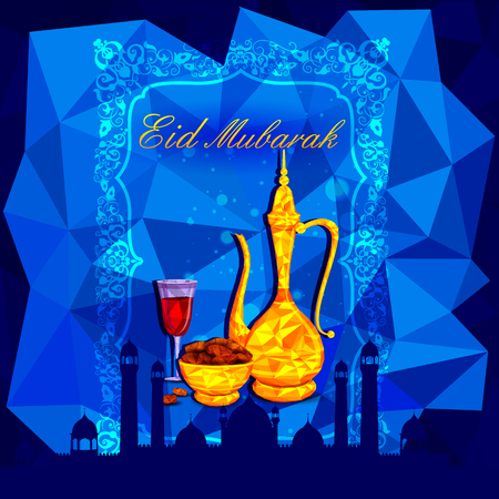 iftar: vector illustration of bowl of sweet dates and beverage for Eid Mubarak Blessing for Eid background