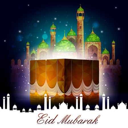 mosque illustration: vector illustration of Eid Mubarak Blessing for Eid background with Islamic mosque Illustration