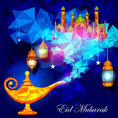イード ムバラク祝福の Eid の背景の ginie ランプとモスクのベクトル イラスト