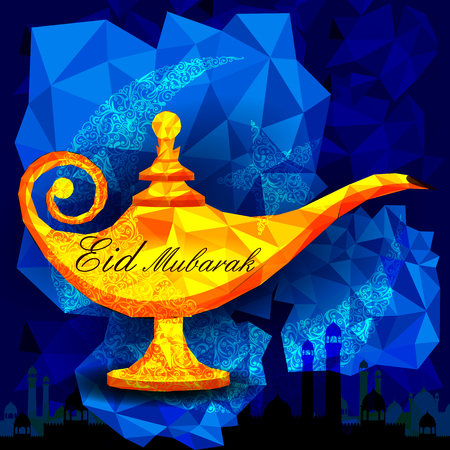 aladdin: vector illustration of antique golden ginie lamp for Eid Mubarak Blessing for Eid background