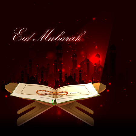 religious celebration: easy to edit vector illustration of holy book Koran in Happy Eid background