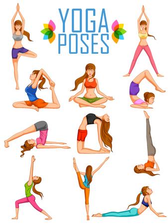 poses: illustration of woman doing Yoga for International Yoga Day Illustration