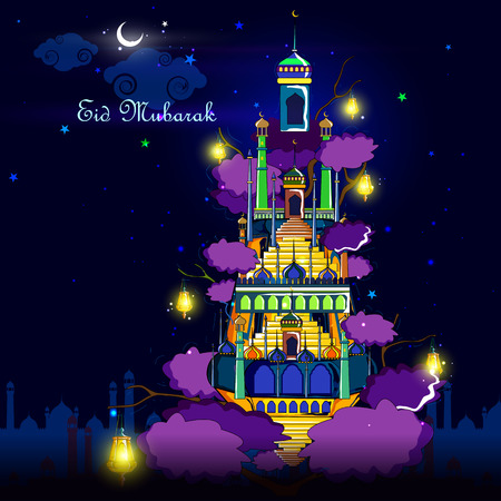 iftar: vector illustration of Eid Mubarak Blessing for Eid background with Islamic mosque Illustration