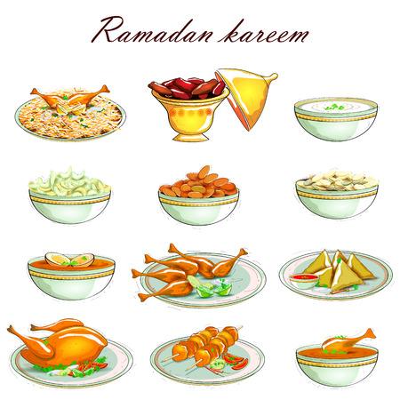 santa cena: f�cil de editar ilustraci�n vectorial de icono del alimento para el Ramad�n Kareem Vectores