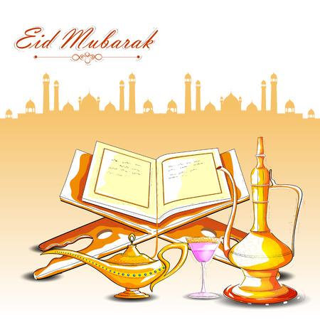 holy jug: vector illustration of drink and beverage with Quran for Eid Mubarak Blessing for Eid background