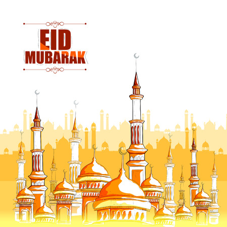 greeting: vector illustration of Eid Mubarak Blessing for Eid background with Islamic mosque Illustration