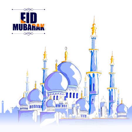 masjid: vector illustration of Eid Mubarak Blessing for Eid background with Islamic mosque Illustration