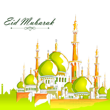 vector illustration of Eid Mubarak Blessing for Eid background with Islamic mosque Vettoriali