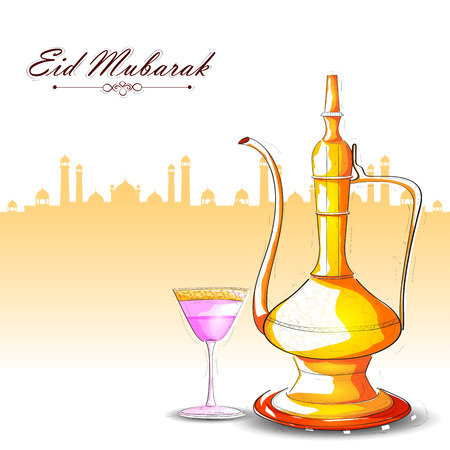 iftar: vector illustration of drink and beverage for Eid Mubarak Blessing for Eid background
