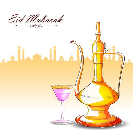 holy jug: vector illustration of drink and beverage for Eid Mubarak Blessing for Eid background