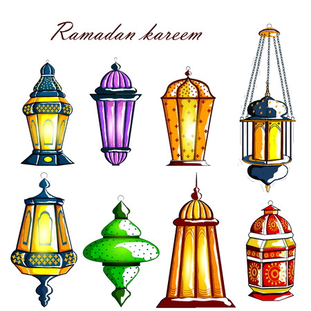 iftar: vector illustration of Decorated Arabic lantern for Ramadan Kareem