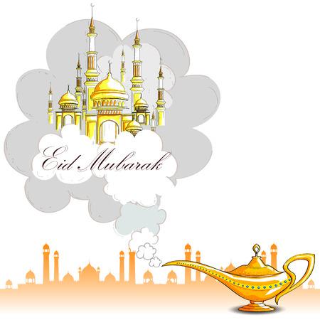 lampara magica: ilustración vectorial de la lámpara ginie y la mezquita de Eid Mubarak Bendición para el fondo Eid