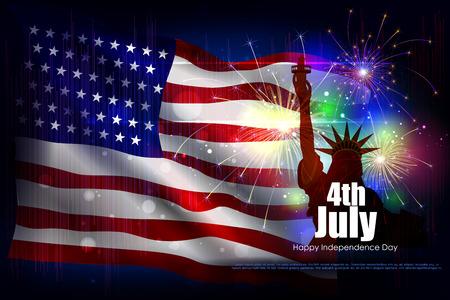 7 月 4 日、アメリカの独立記念日のベクトル図を編集しやすい