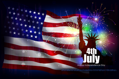 easy to edit vector illustration of 4th July, Independence day of America Illustration
