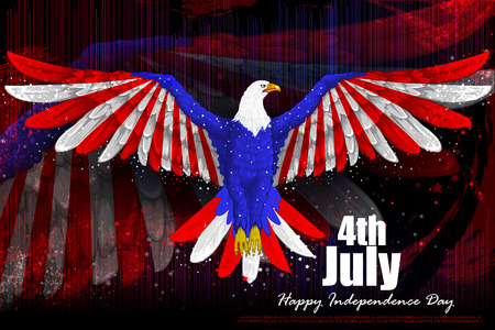 easy to edit vector illustration of eagle for 4th July, Independence day of America
