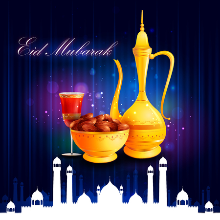vector illustration of bowl of sweet dates and beverage for Eid Mubarak Blessing for Eid background