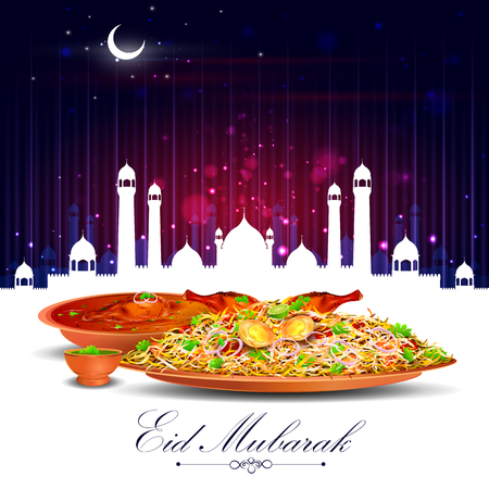 biryani: vector illustration of Eid Mubarak Blessing for Eid background with iftar meal Illustration