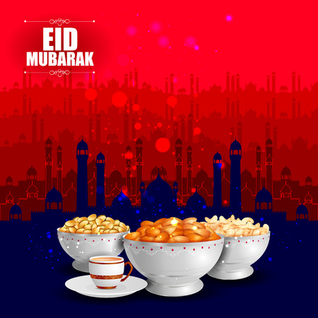 iftar: vector illustration of bowl of dry fruits for Eid Mubarak Blessing for Eid background