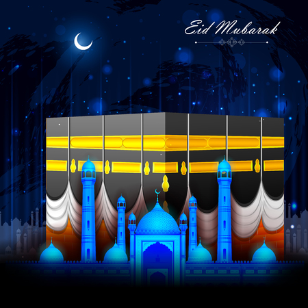 al: vector illustration of Eid Mubarak Blessing for Eid background with Islamic mosque Illustration