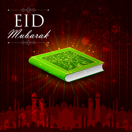 namaz: easy to edit vector illustration of holy book Koran in Happy Eid background