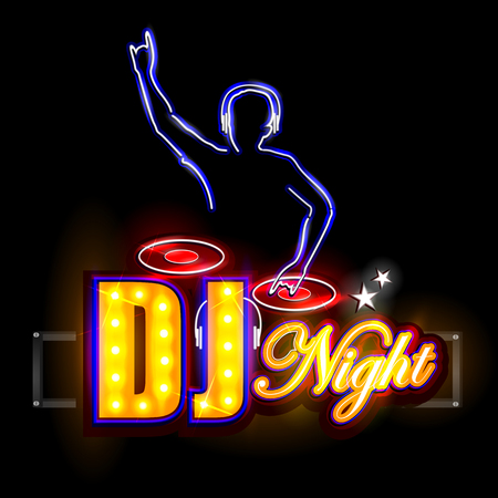 easy to edit vector illustration of Neon Light signboard for DJ Night