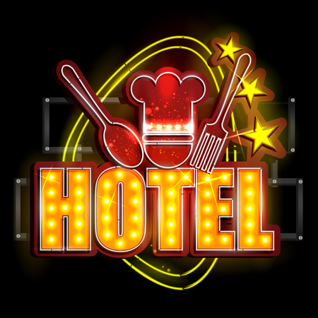 neon light: easy to edit vector illustration of Neon Light signboard for Hotel