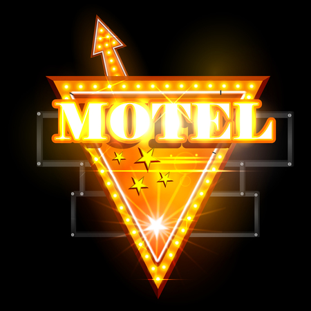 easy to edit vector illustration of Neon Light signboard for Motel