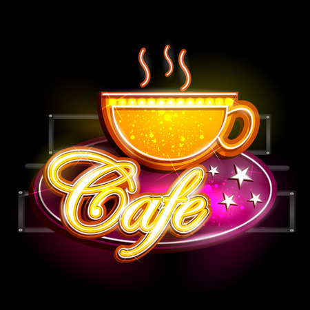 easy to edit vector illustration of Neon Light signboard for Cafe