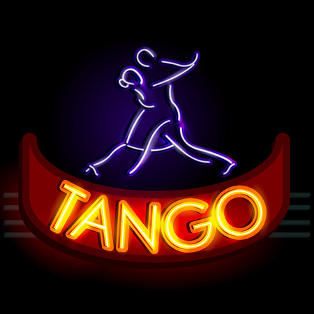 easy to edit vector illustration of Neon Light signboard for Tango